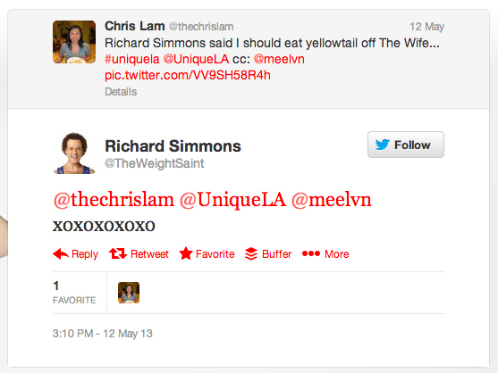 Richard Simmons tweets me back!