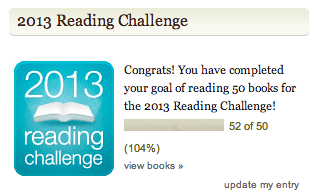 GoodReads challenge Completed in late April 2013!