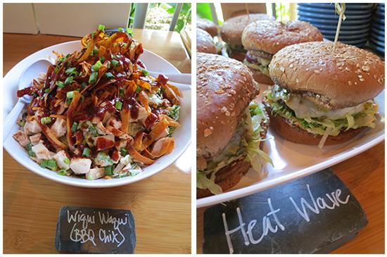 Wiqui Waqui salad & Heat Wave burger - Islands Burgers