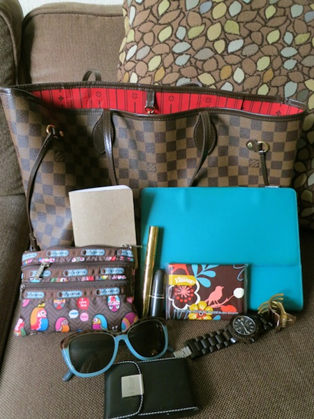 Stylin' with my Kleenex slim pack and LV Neverfull MM