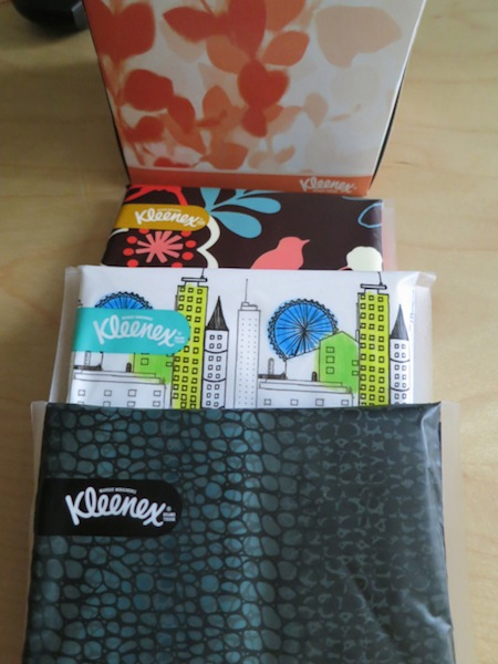 Kleenex Slim Packs and my box of aloe tissues!
