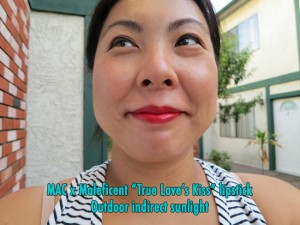 "Crazy ass close-up: MAC x Maleficent ""True Love's Kiss"" red lipstick - Outdoor lowlight"