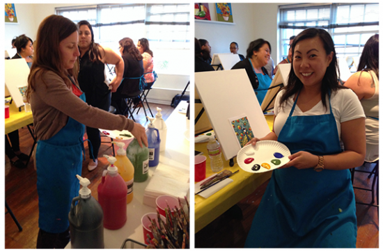 Melissa grabbing her paints; Me with mine - Paint & Sip Studio LA