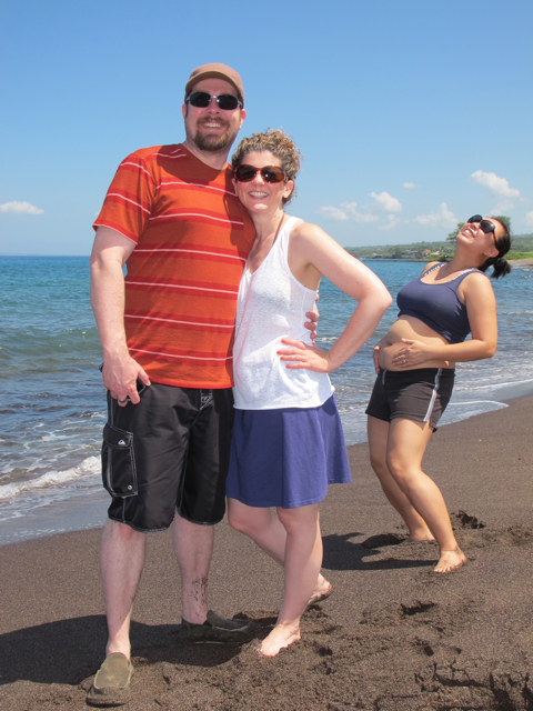 Black sand beach... my besties and me - Maui babymoon