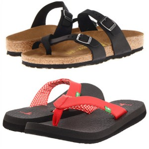 "Birkenstock ""mayari"" sandals and Sanuk yoga mat flip flops"