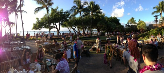 Panoramic view of Old Lahaina Luau - Maui babymoon