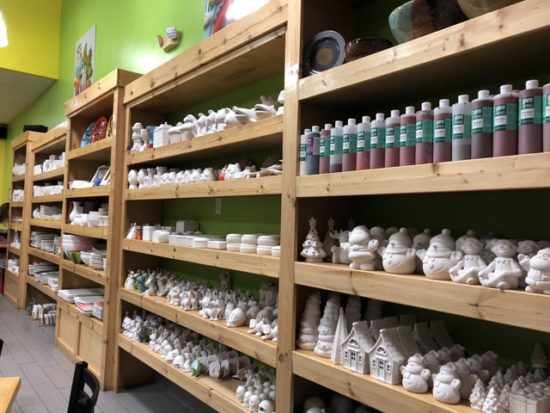 Shelves of potential fun times - As You Wish Pottery Valencia