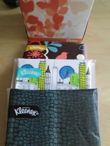 Kleenex Slim Packs and my box of aloe tissues!