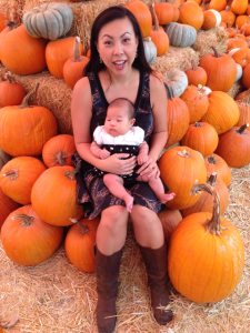 pumpkin patch photo - chris and spawn