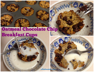 oatmeal chocolate chip breakfast cups collage